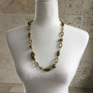 Gold Tone Textured Bead Necklace
